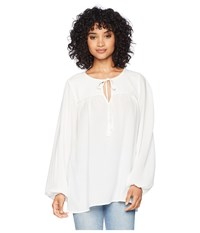 Bishop Young Peasant Blouse Ivory Long Sleeve Pullover White