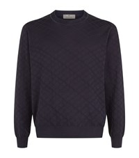 Canali Textured Diamond Pattern Jumper Male Navy