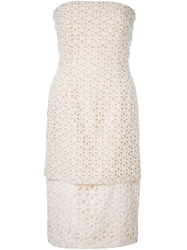 Alexander Mcqueen Embossed Cut Out Floral Dress Nude And Neutrals