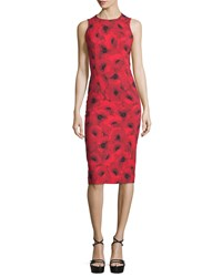 Michael Kors Collection Sleeveless Floral Print Contour Sheath Dress Crimson Size 2 Black Red