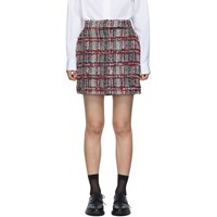 Thom Browne Red Check Tweed Classic Miniskirt