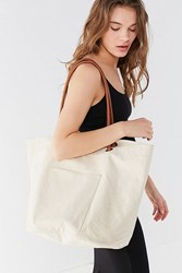 Urban Outfitters Knotted Canvas Bucket Tote Bag Neutral