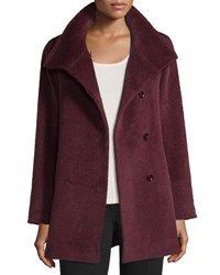 Cinzia Rocca Hidden Button Short Coat Berry