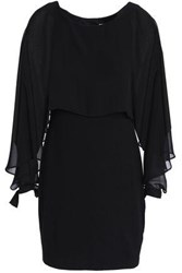 Bailey 44 Dessous Cape Effect Chiffon Paneled Stretch Jersey Mini Dress Black