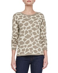 Minnie Rose Giraffe Jacquard Long Sleeve Pullover Women's
