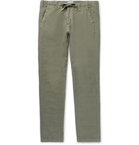 Hartford Troy Slim Fit Linen Chambray Drawstring Trousers Sage Green