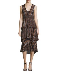 A.L.C. Hayley Sleeveless Tiered Multipattern Midi Dress Brown Multicolor