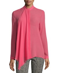 Etro Ruffle Front Silk Georgette Blouse Pink