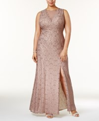 R And M Richards Plus Size Illusion Glitter Lace Gown Taupe Ivory