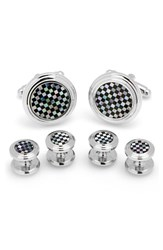 Cufflinks Inc. Men's Onyx And Mother Of Pearl Shirt Studs And Cuff Links