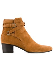 Saint Laurent Booties With Crossover Ankle Strap Brown