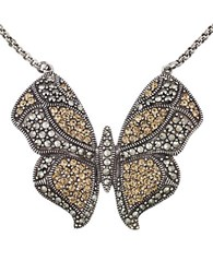 Lord And Taylor Crystal Butterfly Pendant Necklace Two Tone
