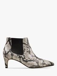 Clarks Laina 55 Kitten Heel Leather Ankle Boots Grey