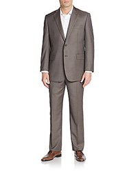 Saks Fifth Avenue Regular Fit Wool Two Button Suit Charcoal