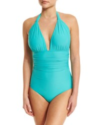 Lenny Niemeyer Halter Neck Ruched Maillot One Piece Swimsuit Turquoise