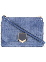 Jimmy Choo City Lockett Denim Shoulder Bag Blue