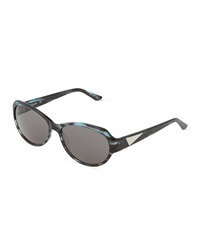 Thierry Mugler Gray Horn Acetate Oval Sunglasses