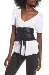 J.O.A. Women's Faux Leather Corset Black