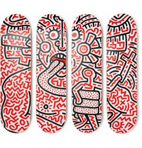 The Skateroom Keith Haring Set Of Four Printed Wooden Skateboards Red