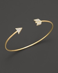 Meira T 14K Yellow Gold Arrow Bangle Bracelet Yellow Gold White Diamonds