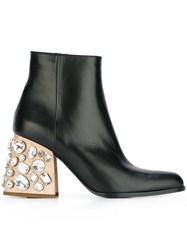 Marni Crystal Embellished Ankle Boots Black