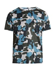 Newline Camouflage Print Running T Shirt Blue Multi