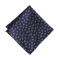 J.Crew Boys' Silk Pocket Square In Anchor Print Classic Navy