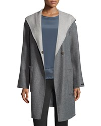 Peserico Hooded Double Breasted Coat Charcoal