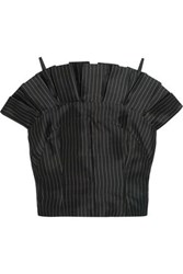Paper London Cielo Pleated Pinstriped Silk Top Black