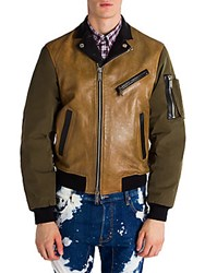 Viktor And Rolf Colorblock Leather Jacket Camel