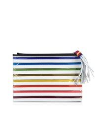 Mary Katrantzou Rainbow White Canvas Pouch Multicolor