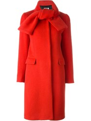 Msgm Oversized Knot Collar Coat Red