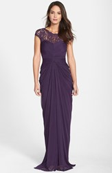 Adrianna Papell Women's Lace Yoke Drape Gown Aubergine