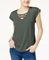 Almost Famous Juniors' High Low Lace Up T Shirt Olive