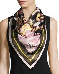 Givenchy Ultra Paradise Square Silk Twill Scarf Pink Green Pink Green