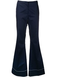 By Malene Birger Stitch Detail Flared Trousers Blue