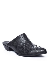 Matisse Clover Snake Print Leather Mules Black