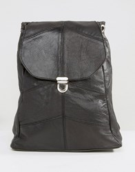 Reclaimed Vintage Leather Pushlock Mini Leather Backpack Black
