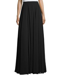 Halston Pleated A Line Maxi Skirt Black