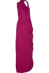 Raoul Billie Jean Cutout Draped Silk Gown Purple