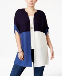 Ny Collection Plus Size Colorblocked Duster Cardigan Kiana