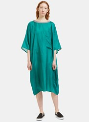 Von Sono Oversized Patch Pocket Silk T Shirt Dress Green
