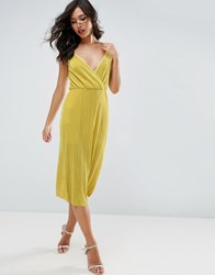 Asos Cami Dress With Wrap Front In Plisse Yellow