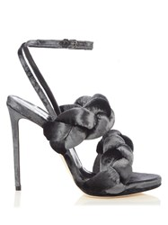 Marco De Vincenzo Velvet High Heel Sandals Grey