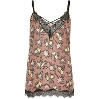 River Island Womens Pink Floral Print Lace Trim Cami Top