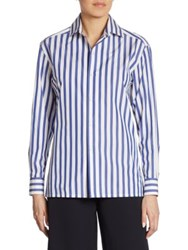 Ralph Lauren Capri Striped Cotton Shirt White Classic Blue
