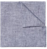 Oliver Spencer Lydon Linen Pocket Square Blue