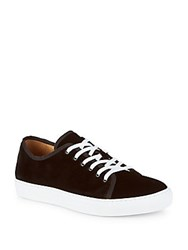 Saks Fifth Avenue Velvet Lace Up Sneakers Black