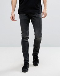 Allsaints Jeans In Skinny Fit Black With Aged Knee Black