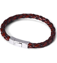 Tateossian Scoubidou Leather Bracelet With Silver Clasp Brown